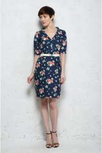 Trollied Dolly Navy Bouquet Dress
