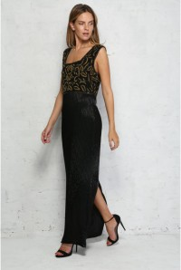 Vintage Gold Beaded Maxi