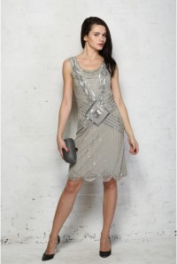 Frock & Frill Grey 20s Style Dress