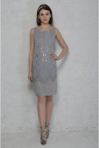 Grey Fringed Flapper Dress