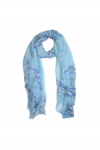 Blue Butterfly Print Scarf