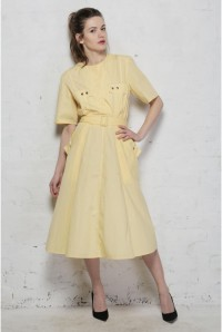Vintage Yellow Shirt Dress
