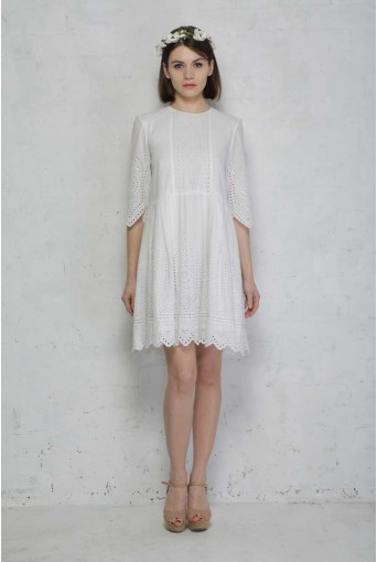 French Connection Josephine Cotton Broderie Anglaise Dress