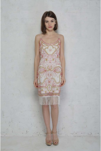 Pink and White Flapper Dress