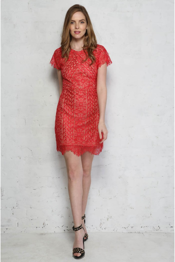 Red Lace Flapper Dress