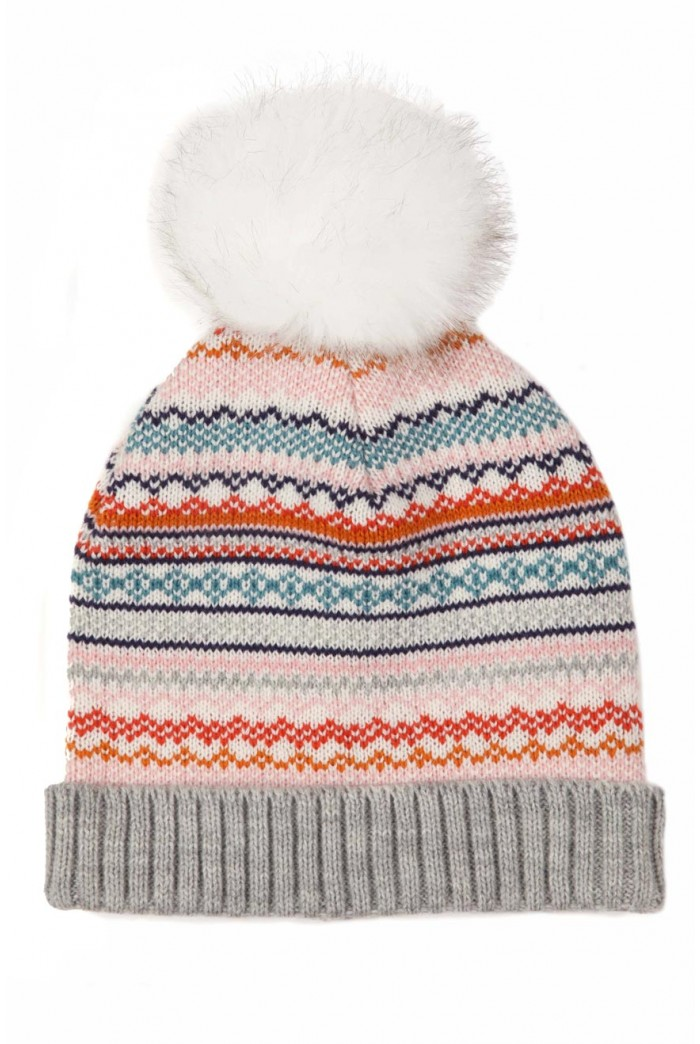 Fairisle Pom Pom Bobble Hat
