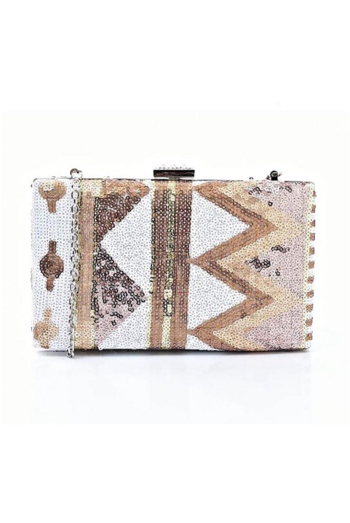 Aztec Sequin Clutch