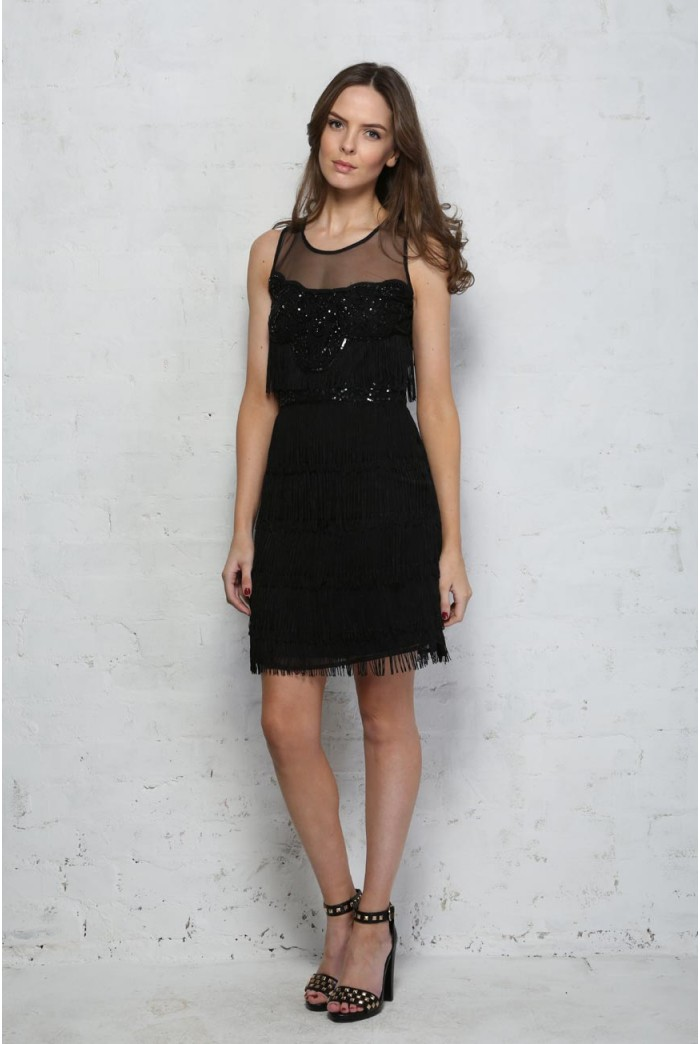 Black Tassel Flapper Dress