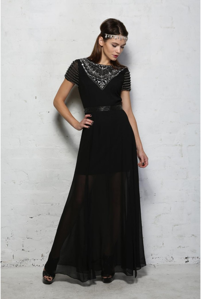 Black Beaded Maxi Dress