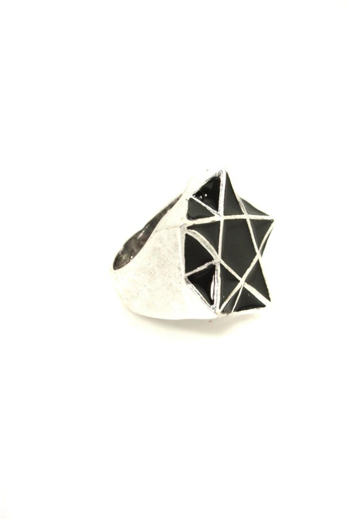Silver And Black Deco Ring