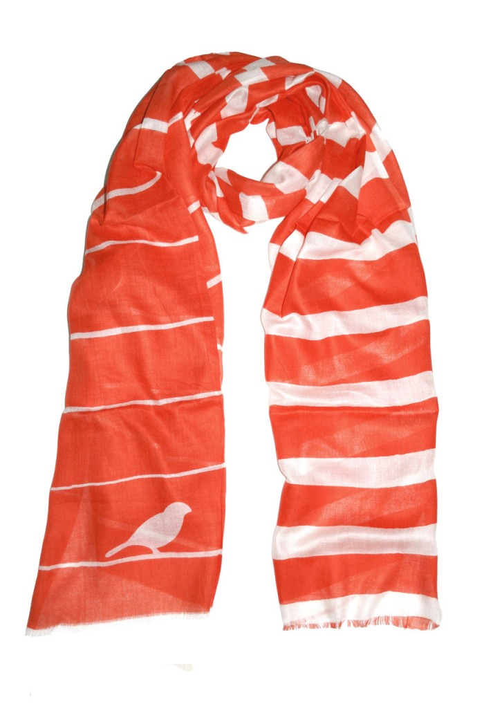 Striped Bird Print Scarf