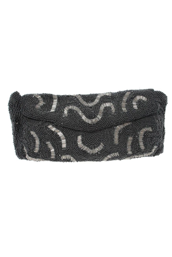 Vintage 1930s Black Bead Clutch