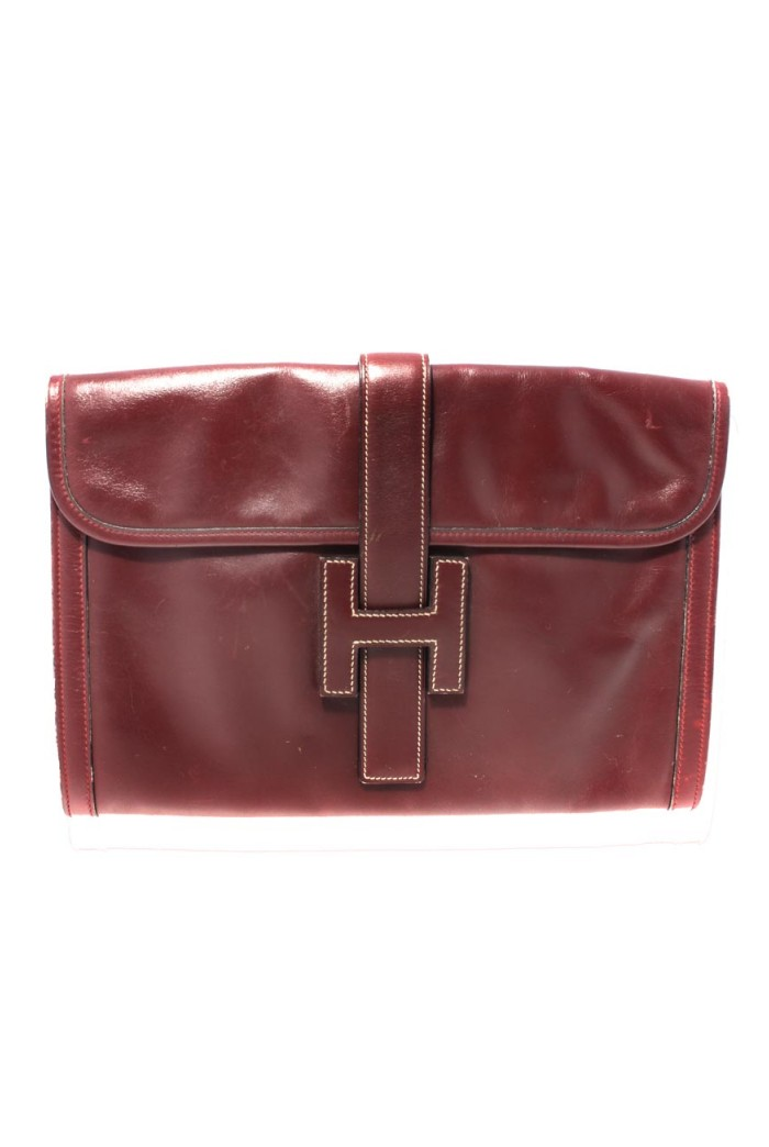 Vintage Hermes Jige Burgundy Clutch Bag