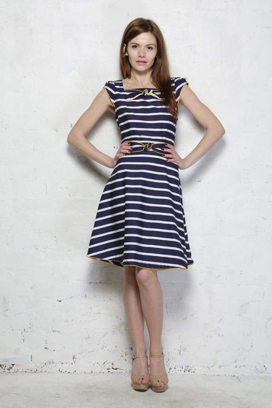 Striped Prom Dress 1950s Style Dress Nautical Dresses