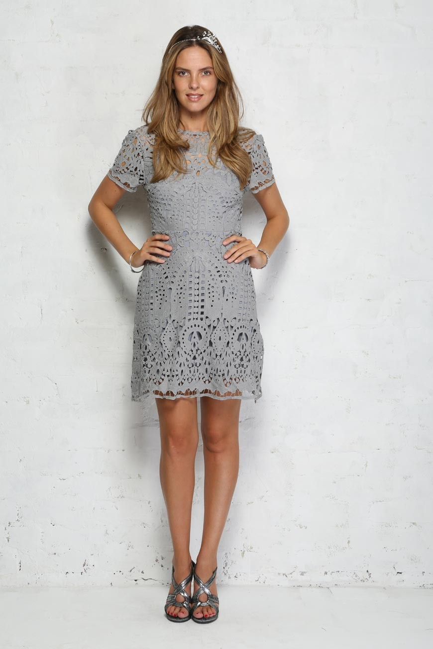 Grey lace dress cut out tea dress for Grey dress wedding guest