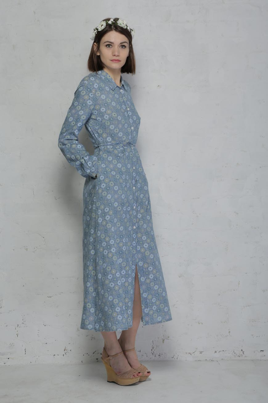 French connection blue floral shirt dress 1970s maxi dress for French connection shirt dress