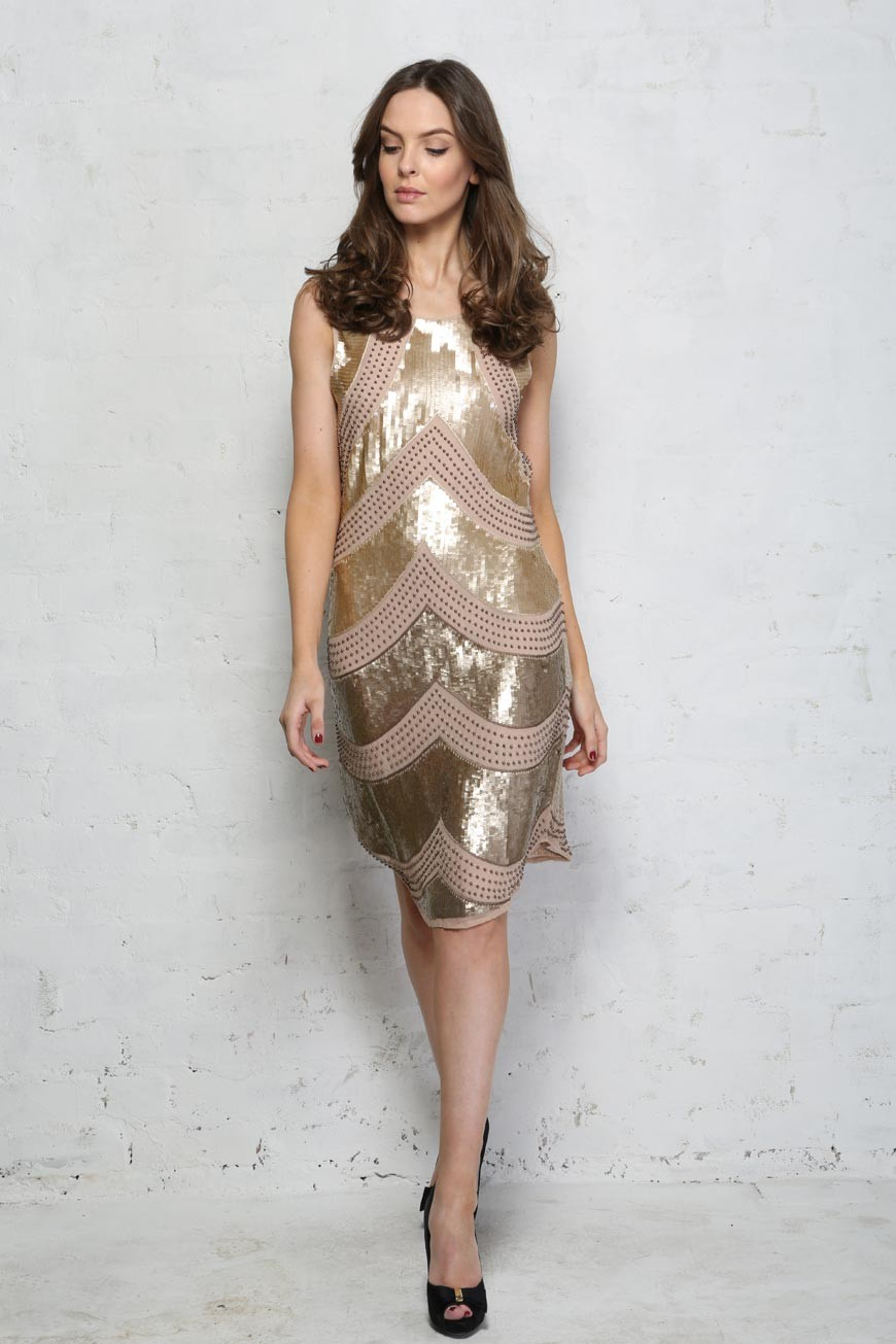 Gold Sequin Flapper Dress 1920s Style Beaded Dress