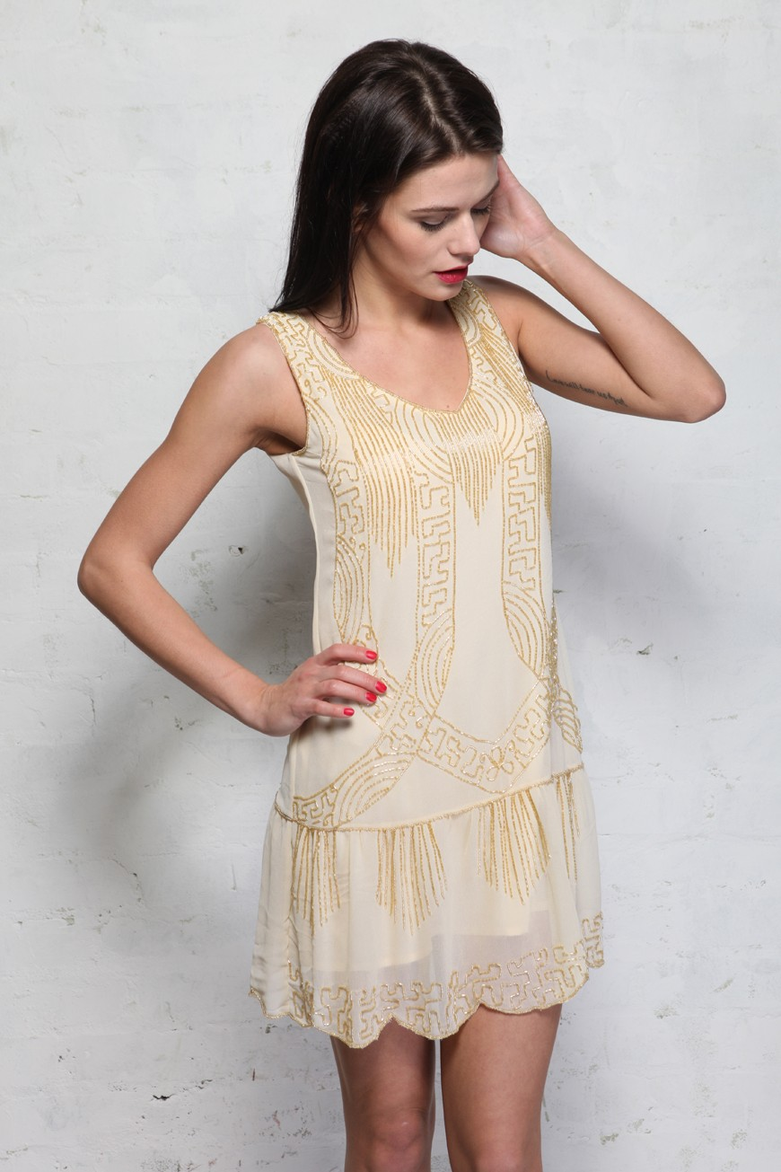 Cream Art Deco Flapper Dress