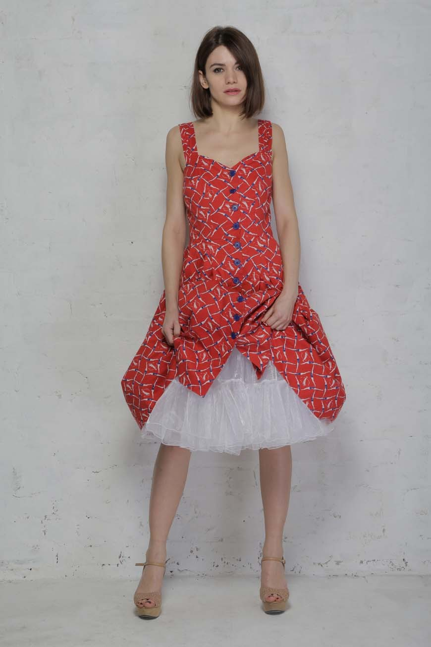 Red printed tea dress quirky patterned dress for Vintage wedding guest dresses