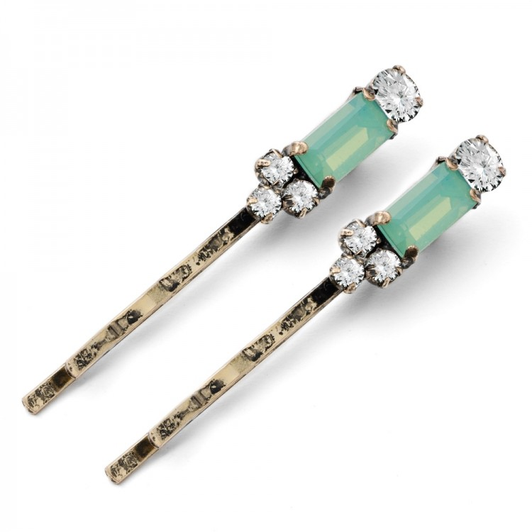 Green Art Deco Hairclips