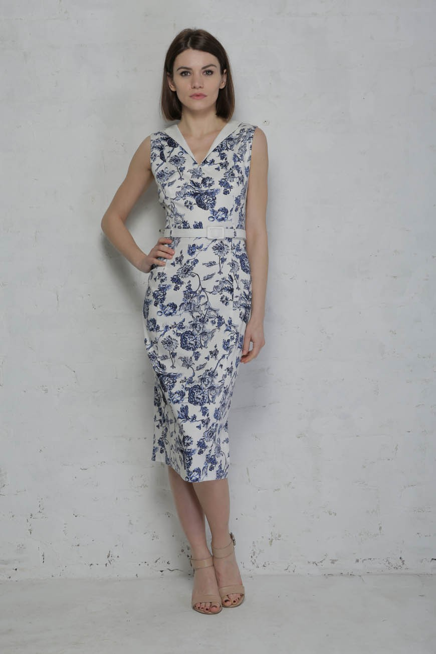 Collectif Helen Toile Floral Pencil Dress