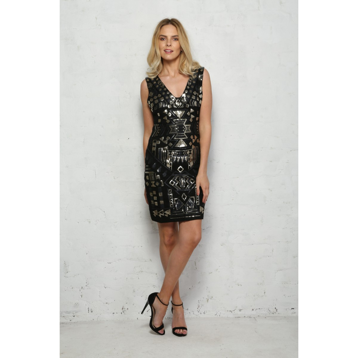 Modern Vintage Inspired Style Clothing Online Uk Gold And Black Sequin Flapper Dress Jamnikfo Images