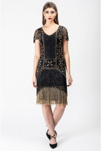 1920s Black And Gold Fringed Flapper