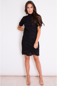 Black Scalloped Flapper Dress