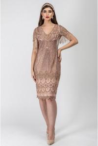 Blush Fringed Sleeve Flapper Dress