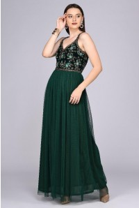 Vivian Drop Waist Maxi Dress in Emerald Green