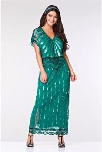 1920s Teal Maxi Dress