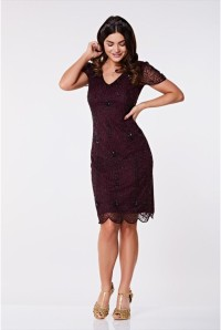 Plum Gatsby Flapper Dress
