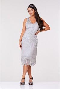 Silver Midi Flapper Dress