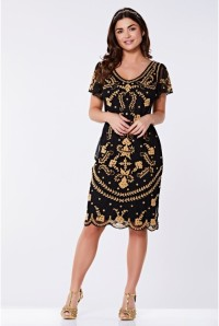 Black Embroidered Flapper Dress