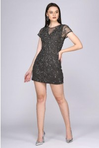 Grey Floral Flapper Dress