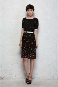 Black Printed Wiggle Dress