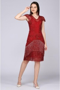 Red 1920s Fringed Flapper Dress