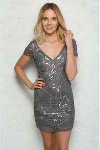 Silver Sequinned Flapper Dress