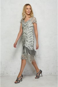 Silver Fringed Flapper Dress