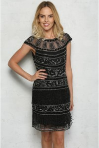 Clara Fringe Flapper Dress in Black Silver 1
