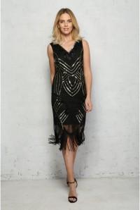 Black 1920s Fringed Dress