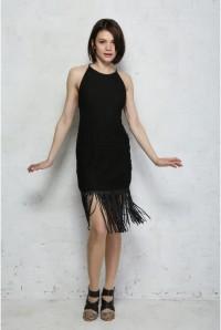 Black Leather Fringed Flapper Dress
