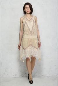 Nude Art Deco Flapper Dress