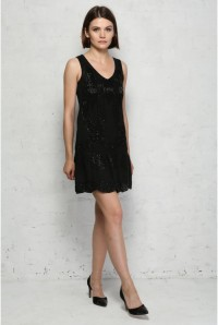 Black Art Deco Flapper Dress