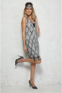Grey Beaded Flapper Dress