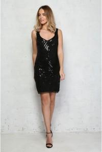 Black Sequin Wiggle Dress