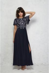 1930s Blue Beaded Maxi Dress