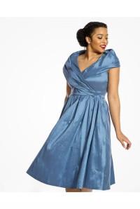 Metallic Blue Prom Dress