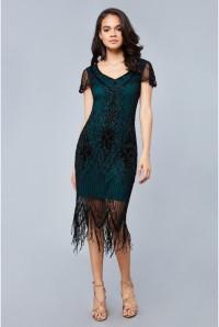 Annette Fringe Flapper Dress in Teal Black