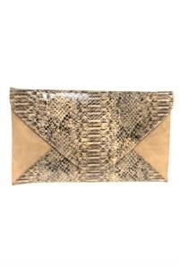 Brown Snakeskin Clutch